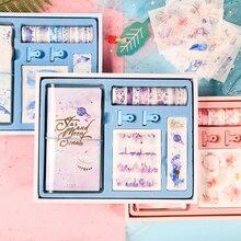 Tn diário viajante espiral caderno presente conjunto, planejador diário pessoal diy com fita washi clipes de papel adesivo caixa de presente