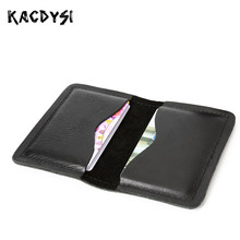 Genuine Leather Short Mens Wallet Business Card Holder Small Mini Unisex Cash Purse Vintage Soft Credit Card Case Money Coin Bag(China)