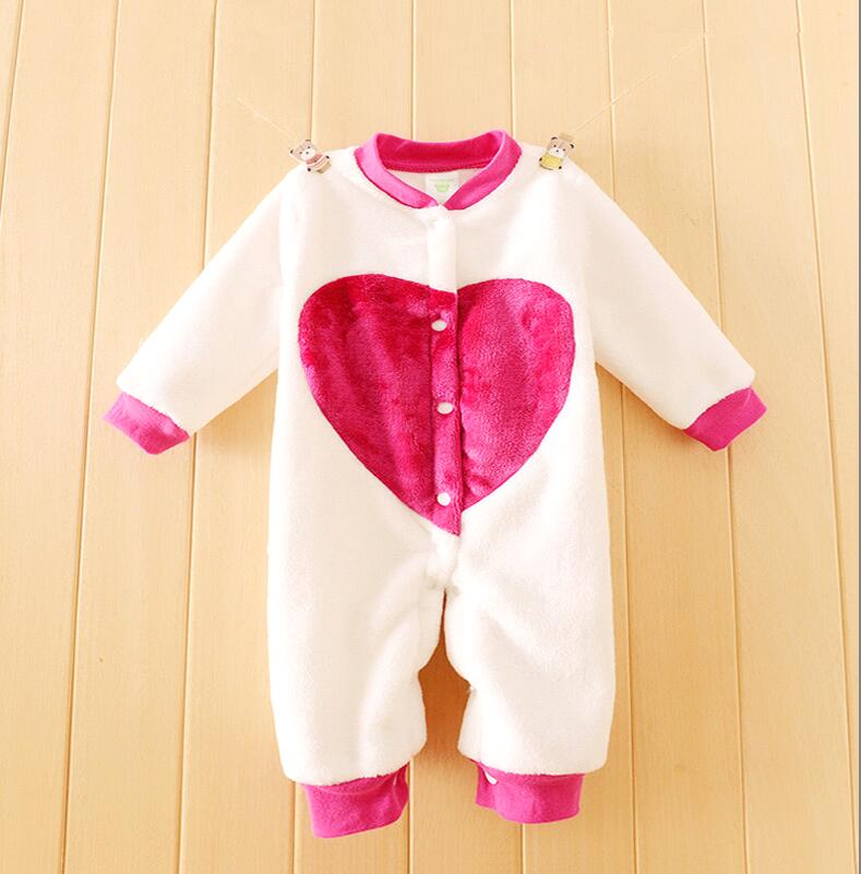 New 2016 Autumn/Winter newborn Baby Rompers clothes Flannel long sleeved baby Boy Girl Baby Jumpsuit cute Love baby Clothing baby clothes winter keep warm flannel baby rompers baby boy girl coat next romper newborn kids clothes jumpsuit set