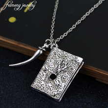 feimeng jewelry Magic Movie Horcrux Pendant Necklace Basilisk Fang and Tom Riddle Diary Necklace With Teeth Metal Pendant