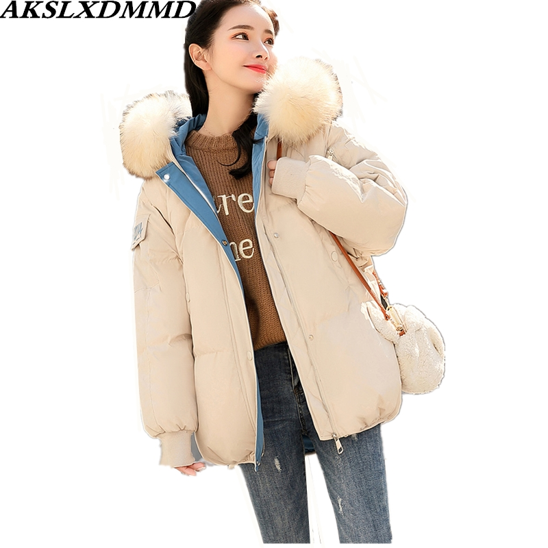 2019 New Women autumn Winter Jacket Warm Thick Large Size Hooded Fur Collar Cotton Coat Fashion Solid   Parkas   Outerwear CW149