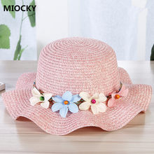 6d035d82 2108 New Summer Sun Hat Toddler Girls Kids Beach Hats Children Flower Straw  Hat Caps Baby