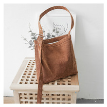 Japanese and Korean style corduroy shoulder bag shoulder strap adjustable solid color diagonal bag shopping bag punk style solid color and rivets design women s shoulder bag