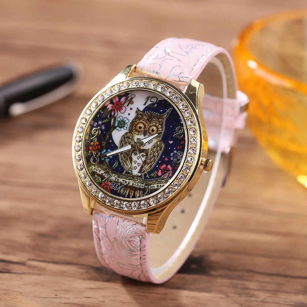 Relojes de cuarzo de lujo para hombre y mujer, modelo Universal de Pareja de búhos de dibujos animados, reloj de pulsera de cuarzo con diamantes