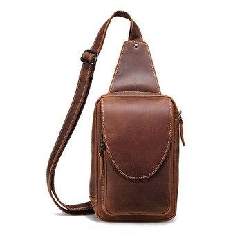 Real Leather Men Shoulder Messenger Bag Crazy Horse Leather Chest Pack Cross body Vintage Men Sling Bag Pack