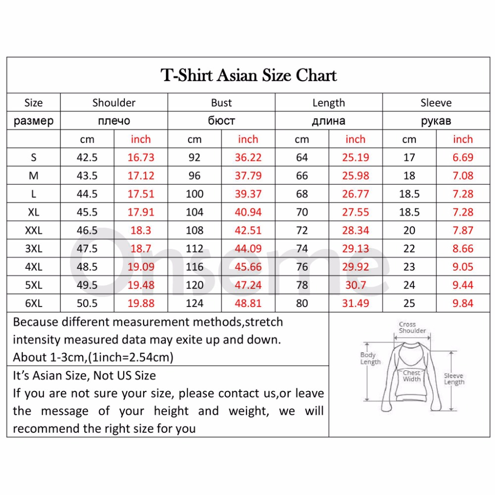 Asian Size Chart Shirt