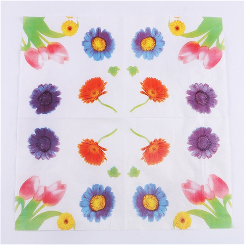 ✓Casamento 20Pcs 2-Layer Color Flowers Wedding Paper Napkins ...