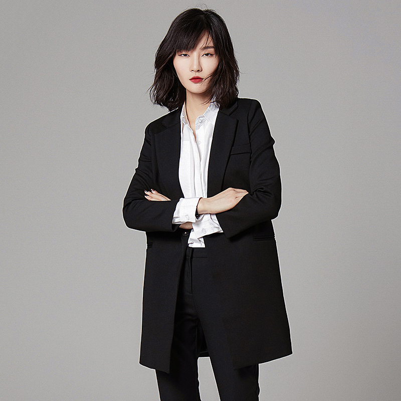 ca8106aa11d Gray Long Blazer Long Sleeve Formal Plus Size Womens Business Suits Vintage  Mantel Damen Women Blazers And Jackets P7C1313-in Blazers from Women s  Clothing ...