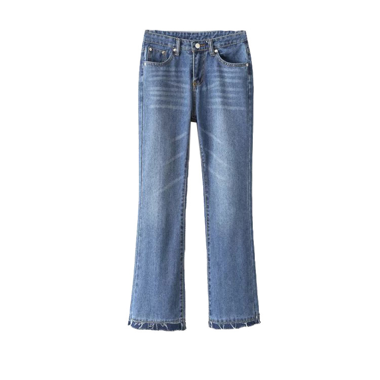 In the spring of 2017 new women's fashion all-match wash old burr flared trouser skinny pants nine female jeans