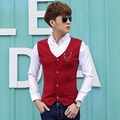 Spring Casual Men Solid Thin Full Sleeve 16 False Two Pins Shirt Red Black Dark Blue 8912