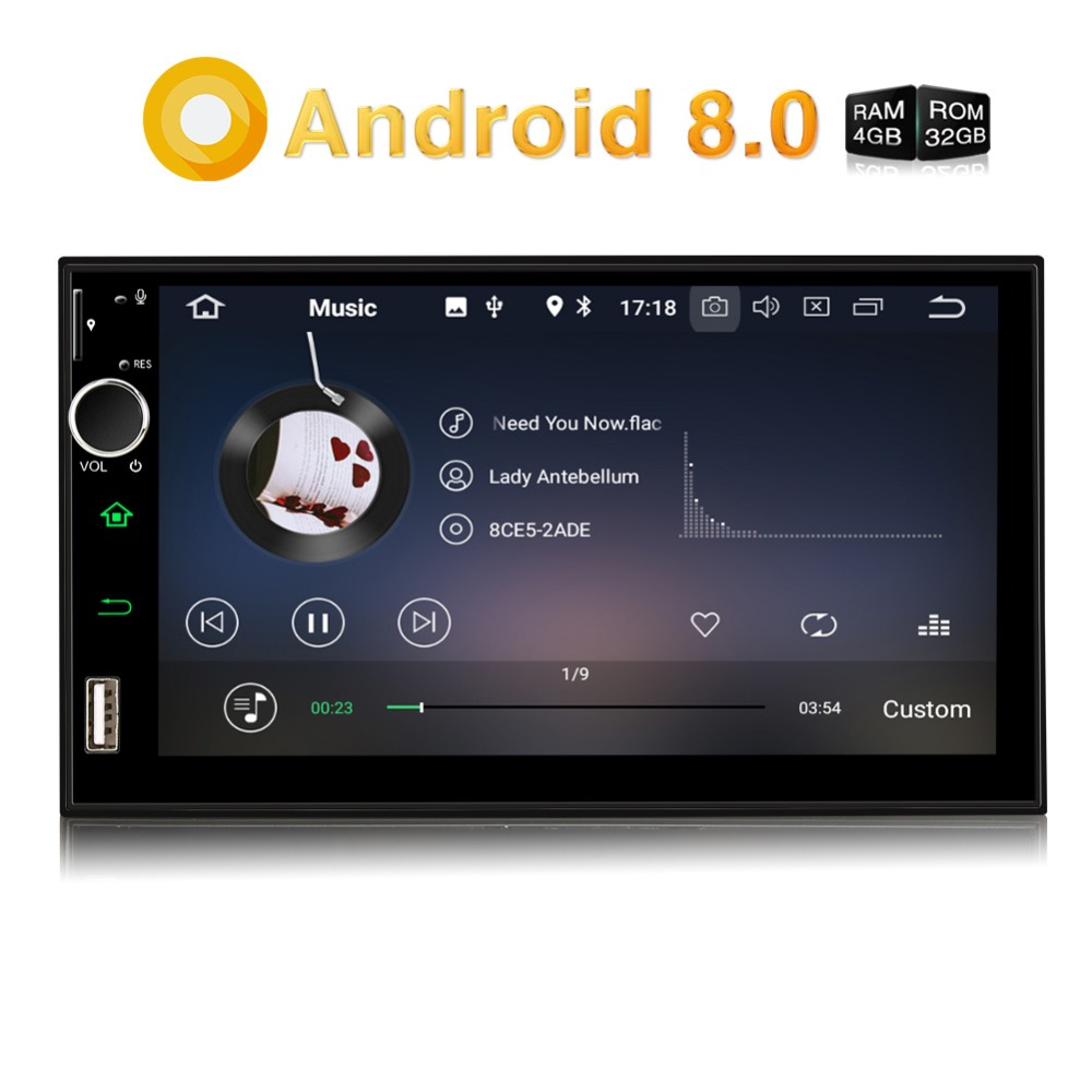 Pumpkin 2 Din 7'' Android 8.0 Universal Car Radio No DVD Player GPS Navigation 4GB RAM Car Stereo Fast Boot Wifi DAB+ Headunit android 8 0 2 din 7 universal car radio no dvd player gps navigation 4gb ram car stereo fm rds wifi 4g dab headunit