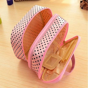 Image 5 - Multifunctional make up cosmetic bag travel organizer Zipper Bags Portable Double layer Dots Makeup Storage Case Toiletry Bags