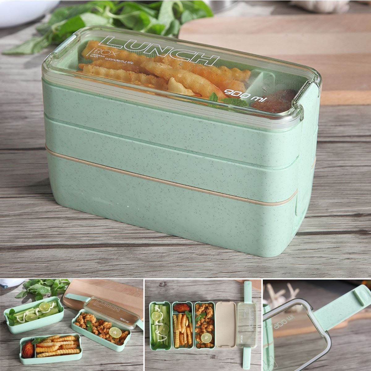 plastic 3 tiers microwave bento lunch box picnic food spoon storage container portable home. Black Bedroom Furniture Sets. Home Design Ideas