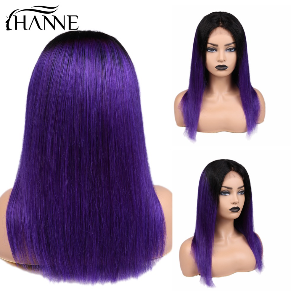 4*4 Lace ClosureWig 1B/Purple Human Hair Wigs For Black Women Glueless Ombre Brazilian Remy Straight Wig 150% Density HANNE Hair