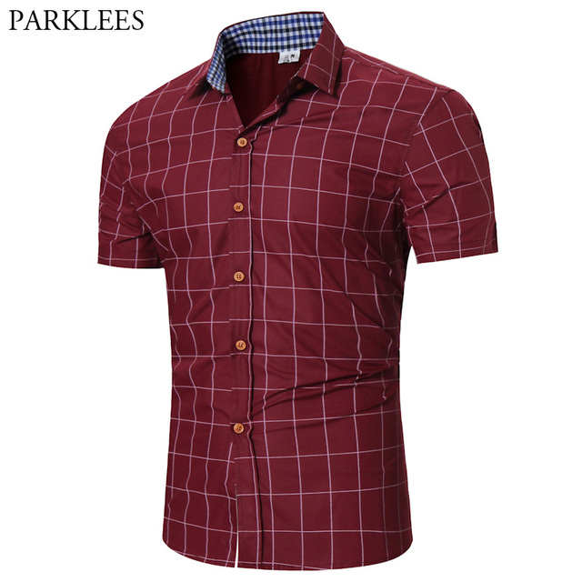 380a8a14d0d Red Plaid Shirt Men 2017 Brand Men Shirt Short Sleeve Slim Fit Male Shirts  Casual Button Down Mens Dress Shirts Chemise Homme
