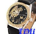 Novos diamantes moda Golden Flower Lady Automatic Black Watch Strap