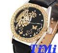 Nueva Moda Flor de Oro Diamantes Señora Reloj Automático Negro Correa