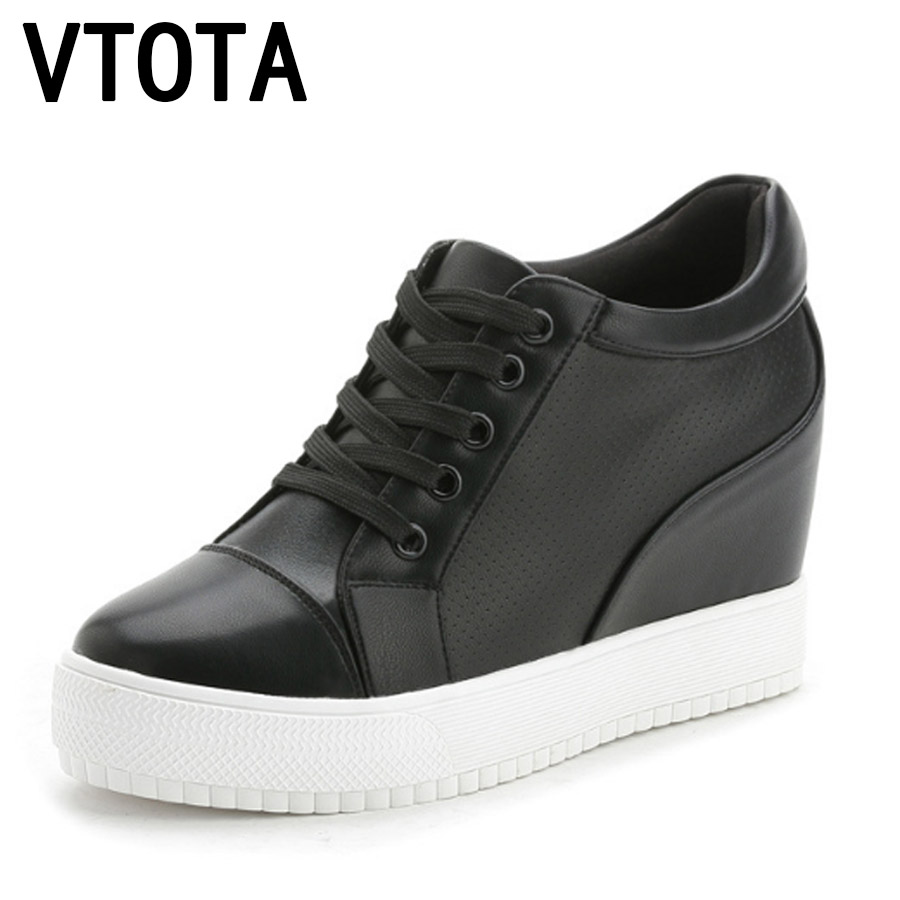 VTOTA Wedges Shoes Woman Sneakers Platform Shoes Summer Lace Up Zapatillas Mujer Casual Increased Intenal Women Pumps H28 pinsen 2017 summer women flat platform sandals shoes woman casual air mesh comfortable breathable shoes lace up zapatillas mujer