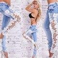 2017 Sexy Lace Mulheres Calças de Brim Longas Lápis Calças Jeans Boyfriend Jeans Skinny Femme Mulher Plus Size