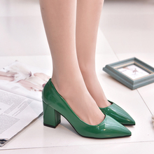 2016 New Spring Korean Pointed Toe High Heels PU Leather Temperament Woman Pumps Leisure Professional Thick Shoes Hot Sale ST176