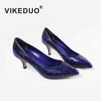Vikeduo Лето Модная обувь на высоком каблуке для Для женщин 2018 змеиной бренд ручной работы дамские туфли из натуральной кожи zapatos mujer Sapatos