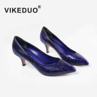 Vikeduo Summer Fashion High Heel Shoes For Women 2018 Snakeskin Brand Handmade Shoe Ladies Genuine Leather Zapatos Mujer Sapatos