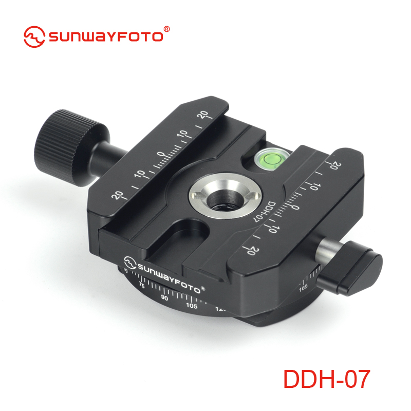 SUNWAYFOTO DDH-07 Tripod Head Quick Release Clamp for DSLR   BallHead Panoramic panning Release Clamp with Arca Plate xiletu j2 360 panoramic panorama ballhead clamp aluminum alloy tripod head with quick release plate damping tuning system