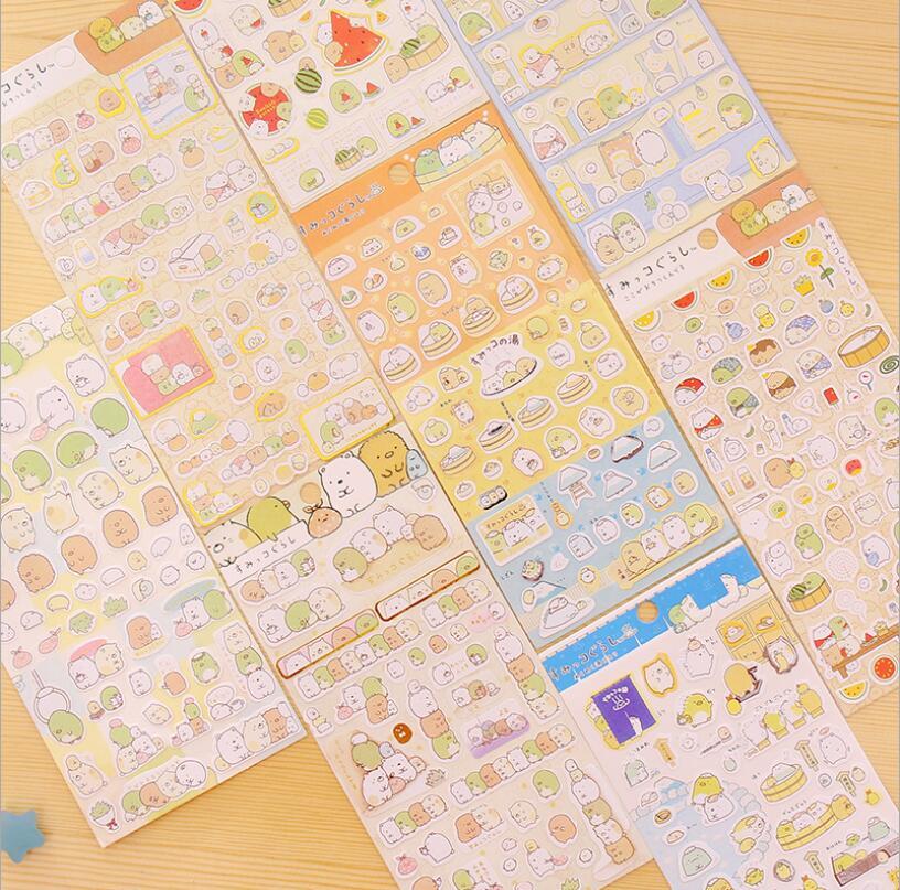 1sheet/set Cartoon animals Paper Stickers DIY Dairy Planner Decoration Sticker School Supplies Multi Design Scrapbooking