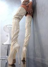 Top Selling Winter Senior Custom Leather Thigh High Women Boot Round Toe Sexy Platform 16CM High Heel Boots Python Printed Shoes