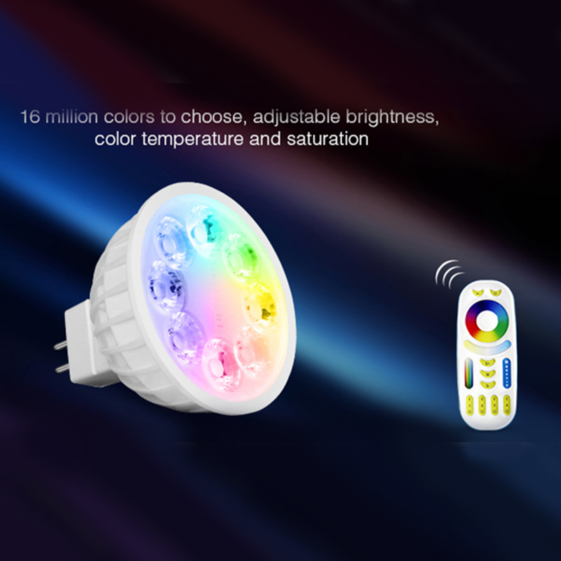 Milight MR16 spot light DC12V 2.4G Wireless  Dimmable Led Bulb  RGB+CCT Led Spotlight Smart Led Lamp+ LED Remote dc12v 2 4g wireless milight dimmable led bulb 4w mr16 rgb cct led spotlight smart led lamp home decoration