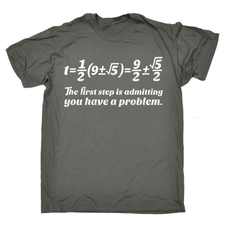 Первый шаг признание есть проблема футболка формула Математика подарок на день рождения Забавный классный Повседневный Прайд Футболка мужская мода унисекс