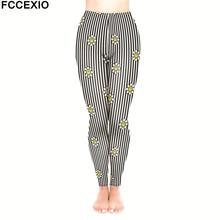 a60506f7a3 FCCEXIO New Female Workout Pants High Waist Fitness Leggings Smile Daisy  Stripes 3D Printed Leggins Women