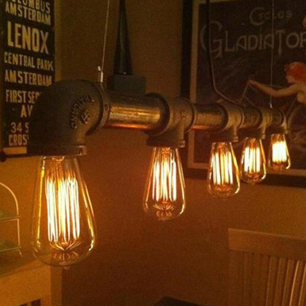 Vintage Water Pipe Pendant Lamp Industrial Edison Suspension Light Lighing Fixture 5 Bulbs