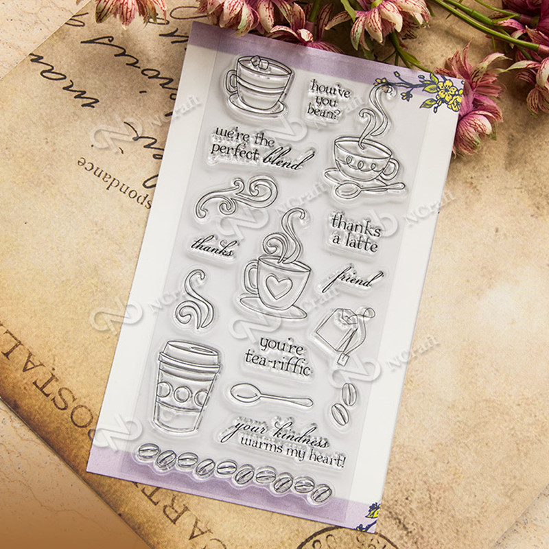 Coffee and tea Clear Stamp Scrapbook DIY photo cards rubber stamp seal stamp happy transparent silicone transparent stamp T-0205 lovely animals and ballon design transparent clear silicone stamp for diy scrapbooking photo album clear stamp cl 278