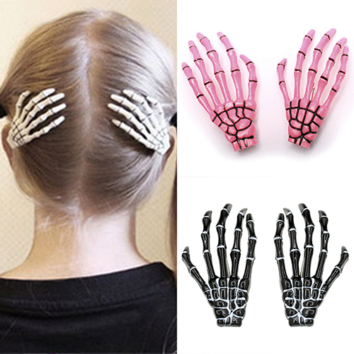2019 Fashion Punk Skull Paw Hairpin Exaggerated Skull Bone Hand Claws Hair Ornaments New Arrival One