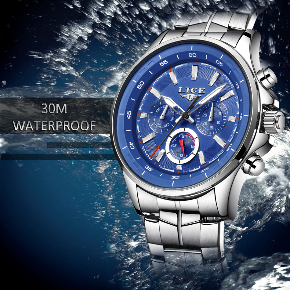 LIGE Mens Watches Waterproof Top Brand Luxury Quartz Watch Men Sport Watch Fashion Casual Military Clock Male Relogio Masculino 4