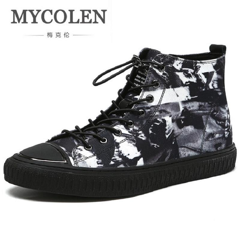 MYCOLEN New Autumn Punk Canvas Boots Men Fashion Breathable Lace-up Martin Boots Black Vintage High Top Shoes sapato masculino mycolen new winter casual men shoes fashion trends lace up breathable flat with high top leather shoes personality martin boots