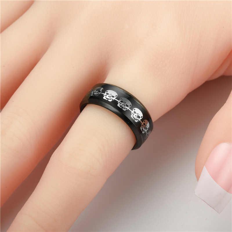 Czaszka ze stali nierdzewnej czarny kolor kobiety mężczyźni pierścień biżuteria Punk pierścionki Dropshipping