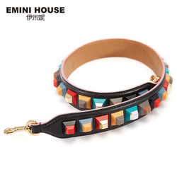 إيميني هاوس جلد طبيعي حزام الكتف الملونة الاكريليك النساء حقيبة حزام 89 سنتيمتر * 4 سنتيمتر