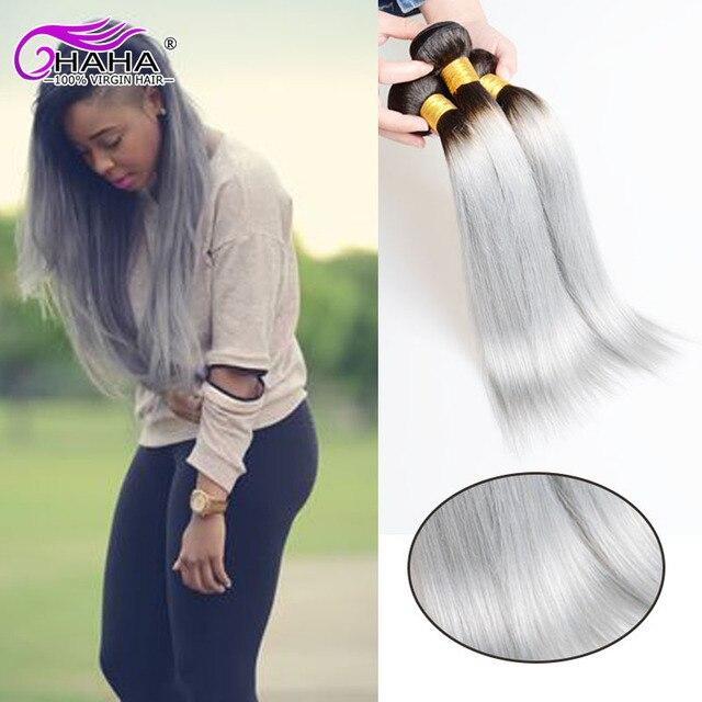 Hot Sale Silver Ombre Human Hair Extension 2pcs1b Grey Hair