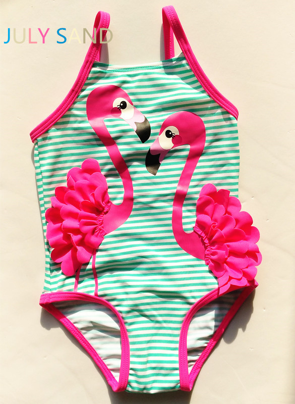 July sand 3M-10Y one piece Baby Girls Swimming suit with green stripe and purple cute ostrich print for kids swimwear llama llama sand and sun