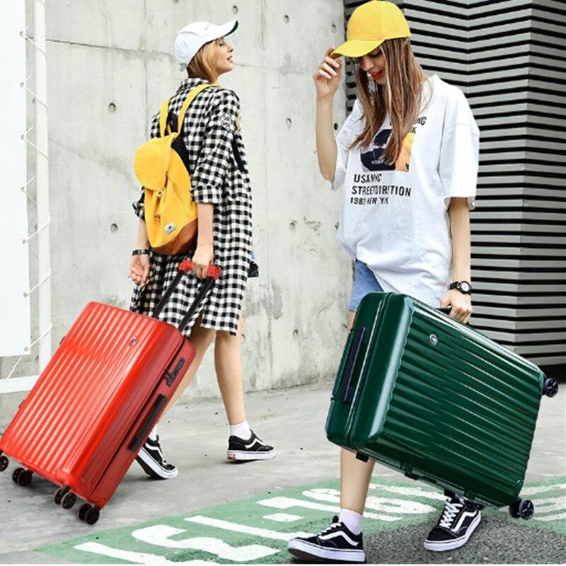100% ABS + valise pc bagage roulant coloré léger continuer à Spinner roue voyage TSA serrure femmes hommes 20 24 26 29 pouces