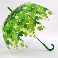 عناصر الجدة ثخن pvc الشفاف الفطر الأخضر يترك المظلات 3 أضعاف فان جوخ اللوحة الشهيرة المرأة المطر مظلة