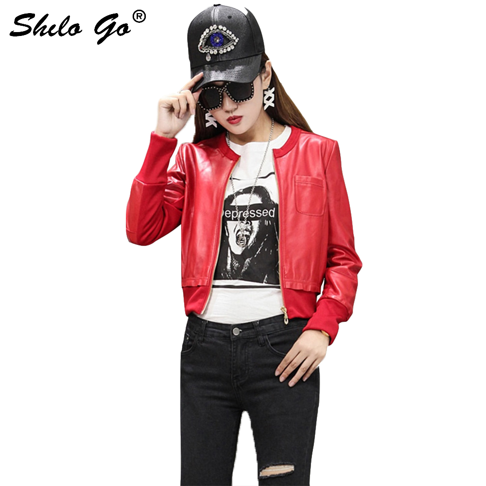 SHILO GO veste en cuir pour femmes mode d'été en peau de mouton manteau en cuir véritable col rond poche avant veste de base-ball décontractée