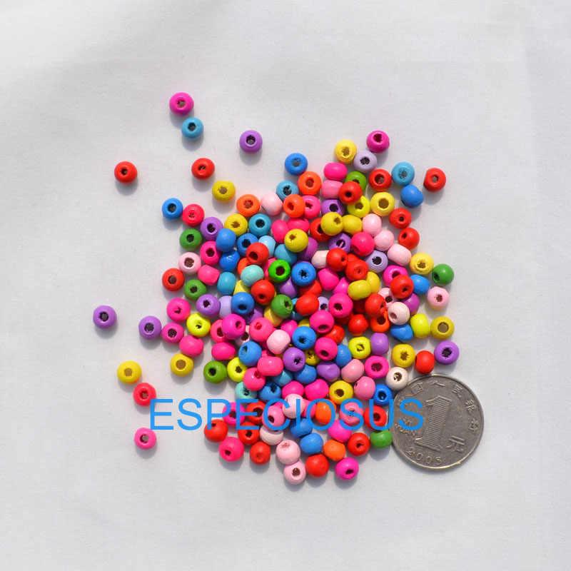 500 stks/partij DIY Etnische Sieraden Bevindingen 5*6 MM Ronde Vorm Kralen Mix Kleur Houten Kralen Accessoires Ketting Maken afdeling