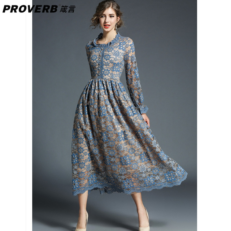 PROVERB Autumn Women Party Desses Round Neck Long Sleeve Hollow Out Blue Midi Lace Dress Female Robes Vestidos de Festa