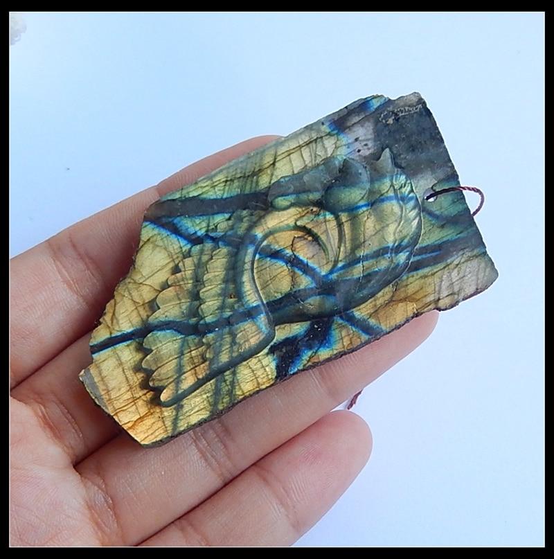 Cheval bijoux accessoires pendentif pierre naturelle haute qualité Flashy Labradorite pour Animal homme mode collier 67x36x8mm 28g