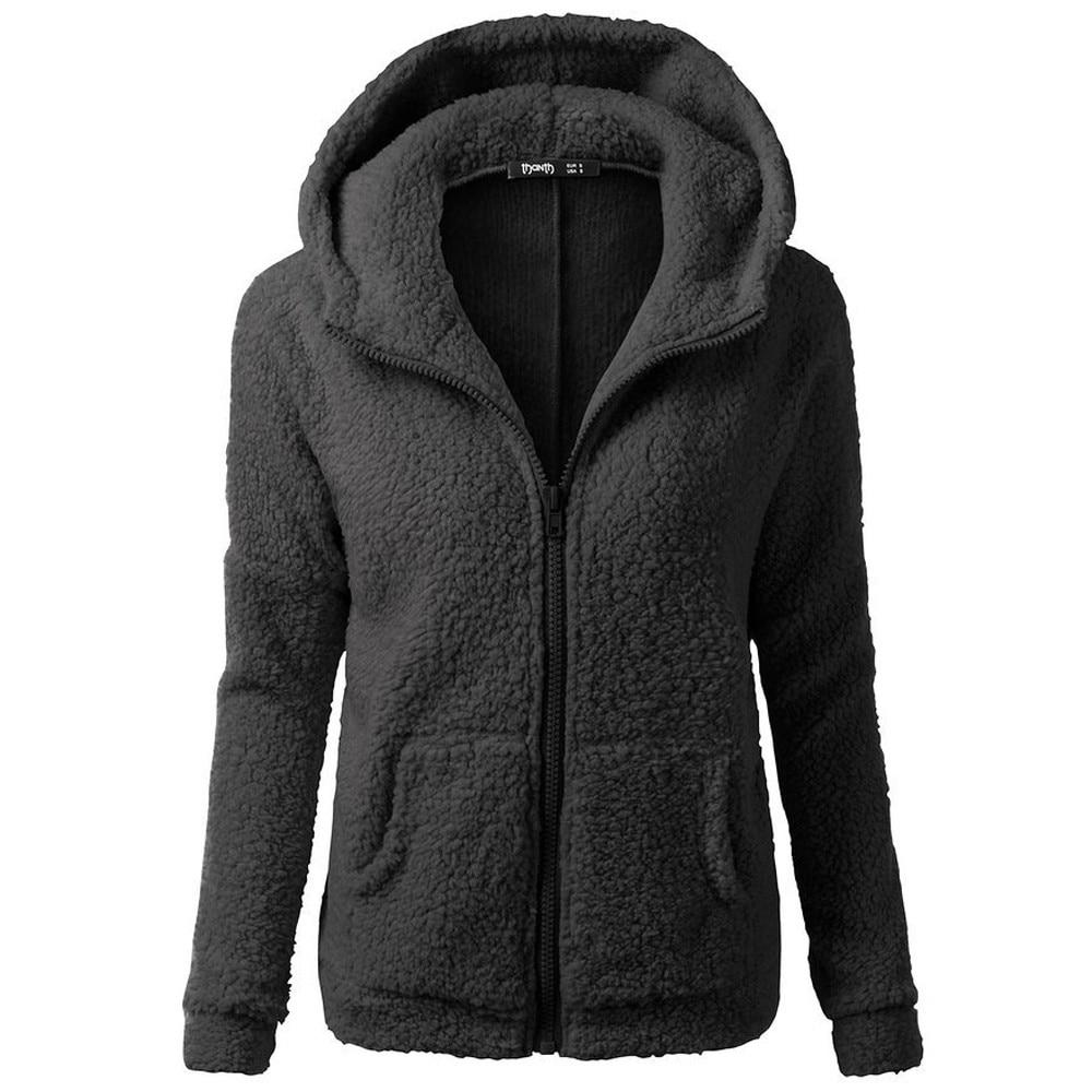 Women Solid Color Coat Thicken Soft Fleece Winter Autumn Warm Jacket Hooded Zipper Overcoat Female Fashion Casual Outwear Coat