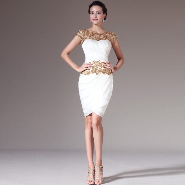 2014 O Neck Sheath Knee Length White Chiffon Applique Cocktail