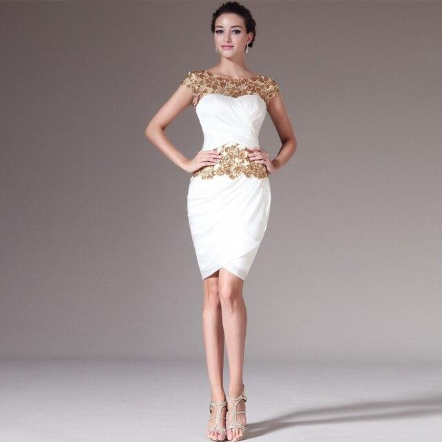 4c6e945931 2014 o-cuello de la envoltura de la rodilla-longitud gasa blanca applique  vestidos